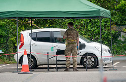 © Licensed to London News Pictures. 10/05/2020. Watford, UK. Soldiers from the 2nd Battalion Royal Anglian Regiment have been running a mobile Covid-19 testing centre in a car park in Watford, Hertfordshire today, as the government looks to hit its 200,000 tests a day target. Photo credit: LNP