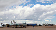 Former Presidential fleet airplanes at the Pima Air and Space Museum in Tuscon, Arizona. The DC 4 named the Columbine (that was before the plane carrying the president was named Air Force One), transported President Eisenhower, the  707 was in the presidential fleet.  <br /> <br /> Photo by Dennis Brack