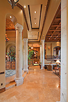 Columns in hallway of luxury villa