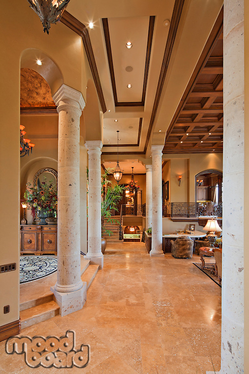 Columns in hallway of luxury villa