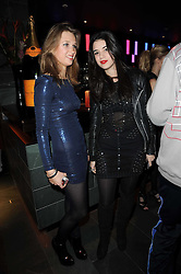 Left to right, HOLLY MEYER and GALA GORDON at the Tatler Little Black Book Party held at Chinawhite, 4 Winsley Street, London on 20th November 2009.