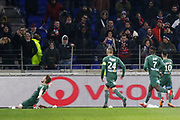 Mathieu Debuchy of Saint Etienne and Loïc Perrin of Saint EtiennePaul-Georges Ntep De Madiba of Saint Etienne and Rémy Cabella of Saint Etienne during the French Championship Ligue 1 football match between Olympique Lyonnais and AS Saint-Etienne on february 25, 2018 at Groupama stadium in Décines-Charpieu near Lyon, France - Photo Romain Biard / Isports / ProSportsImages / DPPI