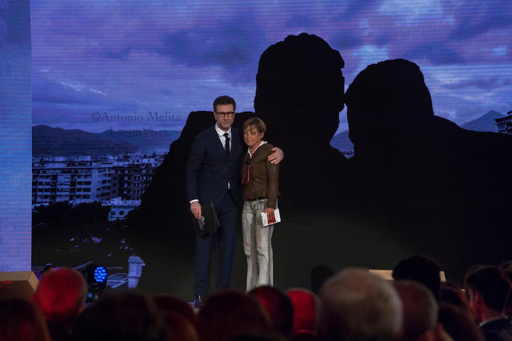 Fiammetta Borsellino, figlia del giudice Paolo, durante la diretta RAI in occasione del 25° anniversario delle stragi di Capaci e via D'Amelio.