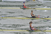 Lucerne SWITZERLAND,  W1X. Start of the Second semi-final women's single sculls,  top down AZE W1X Nataliya MUSTAFYEVA, NZL W1X. Emma TWIGG and CZE W1X Mirka KNAPKOVA,  at the   2011 FISA World Cup on the Lake Rotsee.  15:42:21  Saturday   09/07/2011   [Mandatory Credit Peter Spurrier/ Intersport Images]