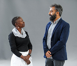 Pictured: Acclaimed Barbadian author Karen Lord chats with economist and writer Prayaag Akbar at the Book Festival.<br /> <br /> © Dave Johnston / EEm
