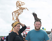 03/08/2014 Vera and Fergus Collins from Galway who entered the Mad Hatter Day Competition   at the Final day of the Galway Racing Summer Festival. Photo:Andrew Downes