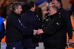 Colchester's manager Joe Dunne (L) and Rotherham's manager Steve Evans (R) - Photo mandatory by-line: Mitchell Gunn/JMP - Tel: Mobile: 07966 386802 04/03/2014 - SPORT - FOOTBALL - Colchester Community Stadium - Colchester - Colchester v Rotherham - Sky Bet League 1