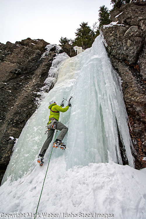 Elijah Weber ice climbing a route called Hang Over which is rated WI-3 and located in Hyalite Canyon in the Gallatin Mountains near the city of Bozeman in southern Montana