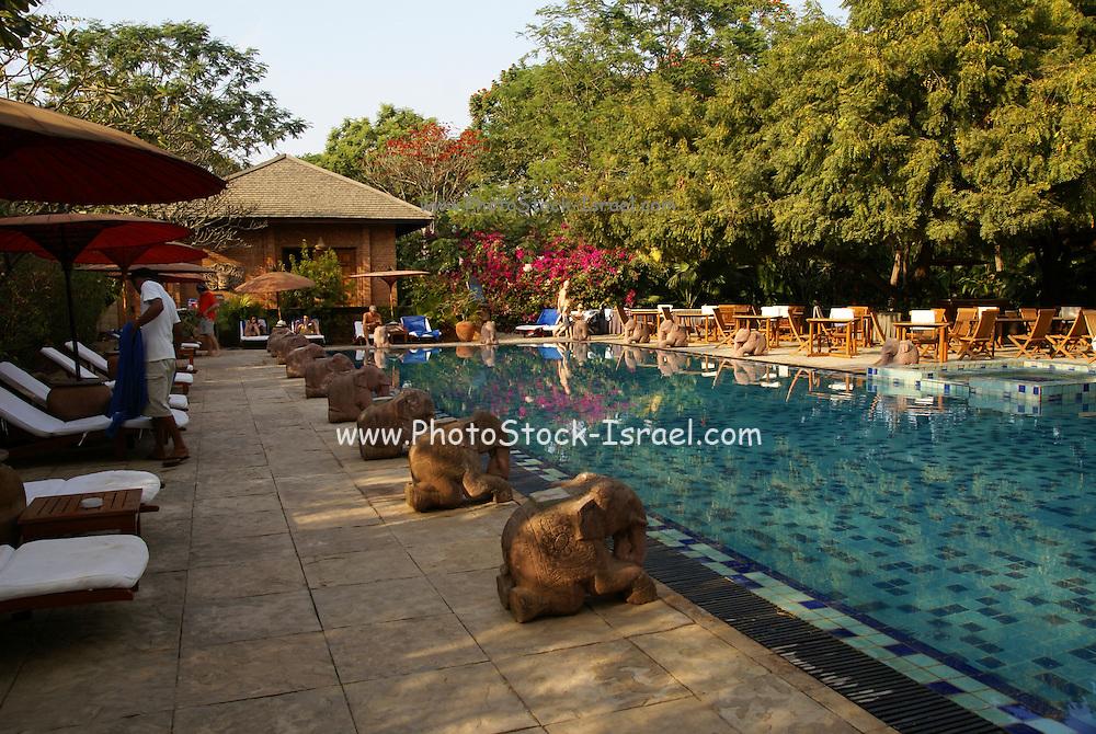 Myanmar, Bagan, hotel pool,