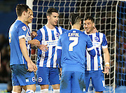 Brighton striker, Tomer Hemed (10) scores a goal and celebrates with team mates during the Sky Bet Championship match between Brighton and Hove Albion and Brentford at the American Express Community Stadium, Brighton and Hove, England on 5 February 2016.