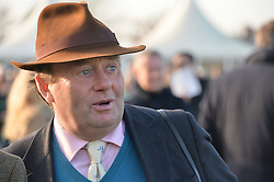 Trainer NICKY HENDERSON at the 2014 Hennessy Gold Cup at Newbury Racecourse, Newbury, Berkshire on 29th November 2014.  The Gold Cup was won by Many Clouds ridden by Leighton Aspell.