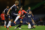 Southend United defender Jakub Sokolik (15) makes a tackle Brighton & Hove Albion's midfielder Jesse Starkey (33) during the EFL Trophy match between Southend United and U23 Brighton and Hove Albion at Roots Hall, Southend, England on 30 August 2016.