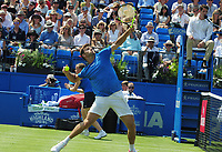Tennis - 2017 Aegon Championships [Queen's Club Championship] - Day One, Monday<br /> <br /> Men's Singles, Round of 32<br /> Grogor Dimitrov [Bulgaria] vs. Ryan Harrison [USA]<br /> <br /> Ryan Harrison throws the ball to the back of the stand after missing an easy volley at the net on Centre Court.<br /> <br /> COLORSPORT/ANDREW COWIE