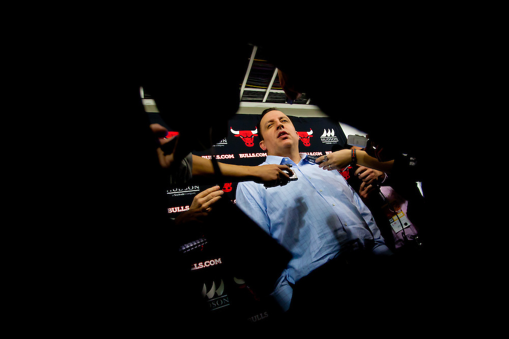 MIAMI, FL -- January 29, 2012 -- Chicago head coach Tom Thibodeau speaks to the media before the 97-93 Miami Heat win over the Chicago Bulls at American Airlines Arena in Miami, Fla., on Sunday, January 29, 2012.  (Chip Litherland for ESPN the Magazine)