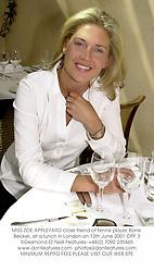 MISS ZOE APPLEYARD close friend of tennis player Borris Becker, at a lunch in London on 13th June 2001.OPF 3