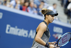 NEW YORK, Sept. 10, 2017  Madison Keys of the United States reacts during the women's singles final match against her compatriot Sloane Stephens at the 2017 US Open in New York, the United States, Sept. 9, 2017. Madison Keys lost 0-2. (Credit Image: © Qin Lang/Xinhua via ZUMA Wire)