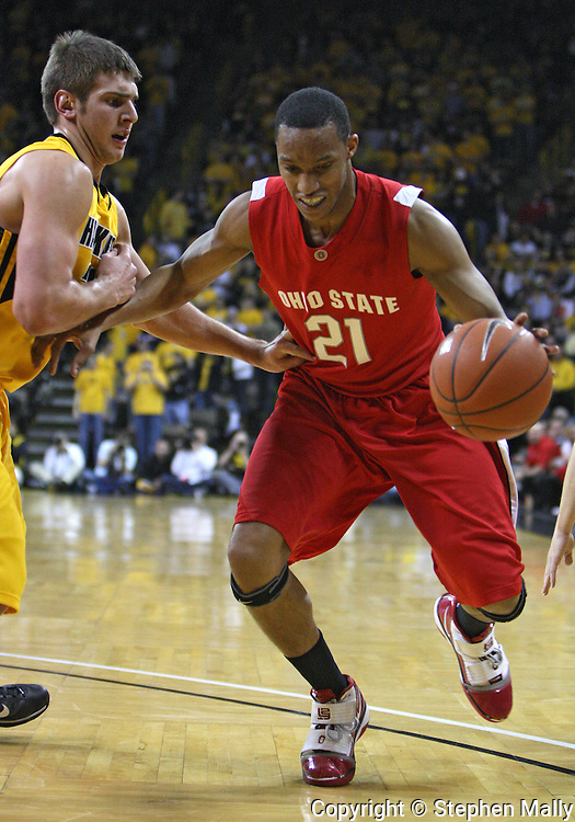 January 27, 2010: Ohio State guard/forward Evan Turner (21) drives with the ball during the first half of their game at Carver-Hawkeye Arena in Iowa City, Iowa on January 27, 2010. Ohio State defeated Iowa 65-57.