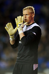 Kasper Schmeichel (DEN) of Leicester City looks on and spits on his gloves - Photo mandatory by-line: Rogan Thomson/JMP - 07966 386802 - 14/04/2014 - SPORT - FOOTBALL - Madejski Stadium, Reading - Reading v Leicester City - Sky Bet Football League Championship.