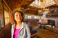 Woman in Summer Smoking Room at top of Clock Tower<br /> Cardiff Castle<br /> Cardiff<br /> South<br /> People<br /> Lifestyle<br /> Castles<br /> Historic Sites
