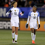 Carli Lloyd, (left), USA, talks with team mate Crystal Dunn  during the USA Vs Colombia, Women's International friendly football match at the Pratt & Whitney Stadium, East Hartford, Connecticut, USA. 6th April 2016. Photo Tim Clayton