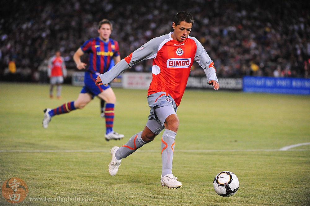 August 8, 2009; San Francisco, CA, USA; Chivas de Guadalajara forward Javier Hernandez (14) during the second half in the Night of Champions international friendly contest against FC Barcelona at Candlestick Park. The game ended in a 1-1 tie.