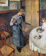 The Little Country Maid' 1882, oil on canvas. Camille Pissaro (1830-1909) French Impressionist painter. Domestic interior with young girl sweeping the floor beneath a dining table with a broom.