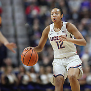 UNCASVILLE, CONNECTICUT- DECEMBER 4:  Saniya Chong #12 of the Connecticut Huskies in action during the UConn Huskies Vs Texas Longhorns, NCAA Women's Basketball game in the Jimmy V Classic on December 4th, 2016 at the Mohegan Sun Arena, Uncasville, Connecticut. (Photo by Tim Clayton/Corbis via Getty Images)