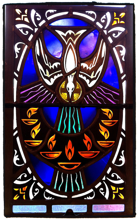 Stained glass image of Holy Spirit inside chapel at Mount Tabor Center in Menasha, Wis. (Sam Lucero photo)