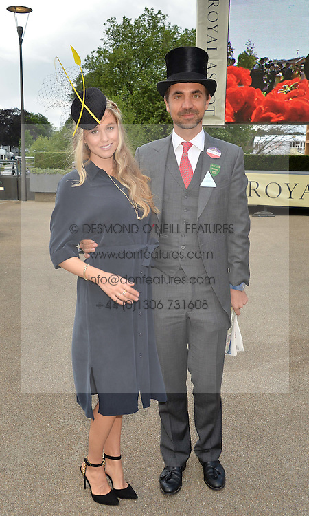 FLORENCE BRUDENELL-BRUCE and her husband HENRY ST.GEORGE at day two of the Royal Ascot 2016 Racing Festival at Ascot Racecourse, Berkshire on 15th June 2016.