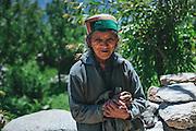 Portrait of an old Kinnauri Lady at chinni village of Kalpa