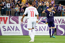 Players of NK Maribor celebrate goal during 2nd Leg football match between NK Maribor and FK Partizani Tirana in 1st Qualifying Round of UEFA Europa League 2018/18, on July 19, 2018 in Ljudski vrt, Maribor, Slovenia. Photo by Urban Urbanc / Sportida
