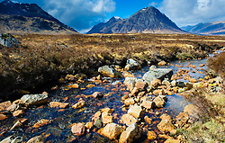 Spring sunshine in Rannoch Moor - looking towards Buachaille Etive Mor (on R) near Glencoe, Scotland<br /> <br /> (c) Andrew Wilson | Edinburgh Elite media