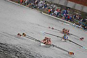 Boston, USA, Club Women's Coxed four, approaching Eliot Bridge, competing in the Head of the Charles, Race Charles River,  Cambridge,  Massachusetts. Saturday  20/10/2007  [Mandatory Credit Peter Spurrier/Intersport Images]..... , Rowing Course; Charles River. Boston. USA
