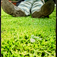 A ground level view of a young man sitting on grass