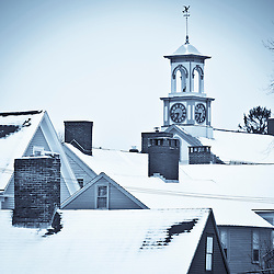 Roof tops in winter in Portsmouth New Hampshire's South End.