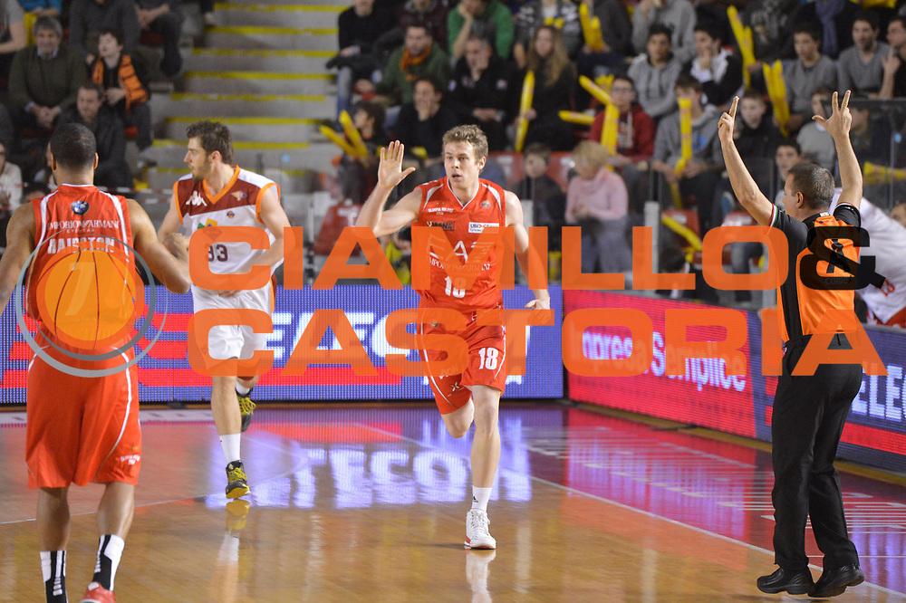 DESCRIZIONE : Roma Lega A 2012-13 Acea Roma EA7 Emporio Armani Milano<br /> GIOCATORE : Nicolo Melli<br /> CATEGORIA : esultanza three points<br /> SQUADRA : EA7 Emporio Armani Milano<br /> EVENTO : Campionato Lega A 2012-2013 <br /> GARA :  Acea Roma EA7 Emporio Armani Milano<br /> DATA : 17/02/2013<br /> SPORT : Pallacanestro <br /> AUTORE : Agenzia Ciamillo-Castoria/GiulioCiamillo<br /> Galleria : Lega Basket A 2012-2013  <br /> Fotonotizia : Roma Lega A 2012-13 Acea Roma EA7 Emporio Armani Milano<br /> Predefinita :