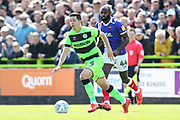 Forest Green Rovers Lloyd James(4) runs forward during the EFL Sky Bet League 2 match between Forest Green Rovers and Exeter City at the New Lawn, Forest Green, United Kingdom on 4 May 2019.