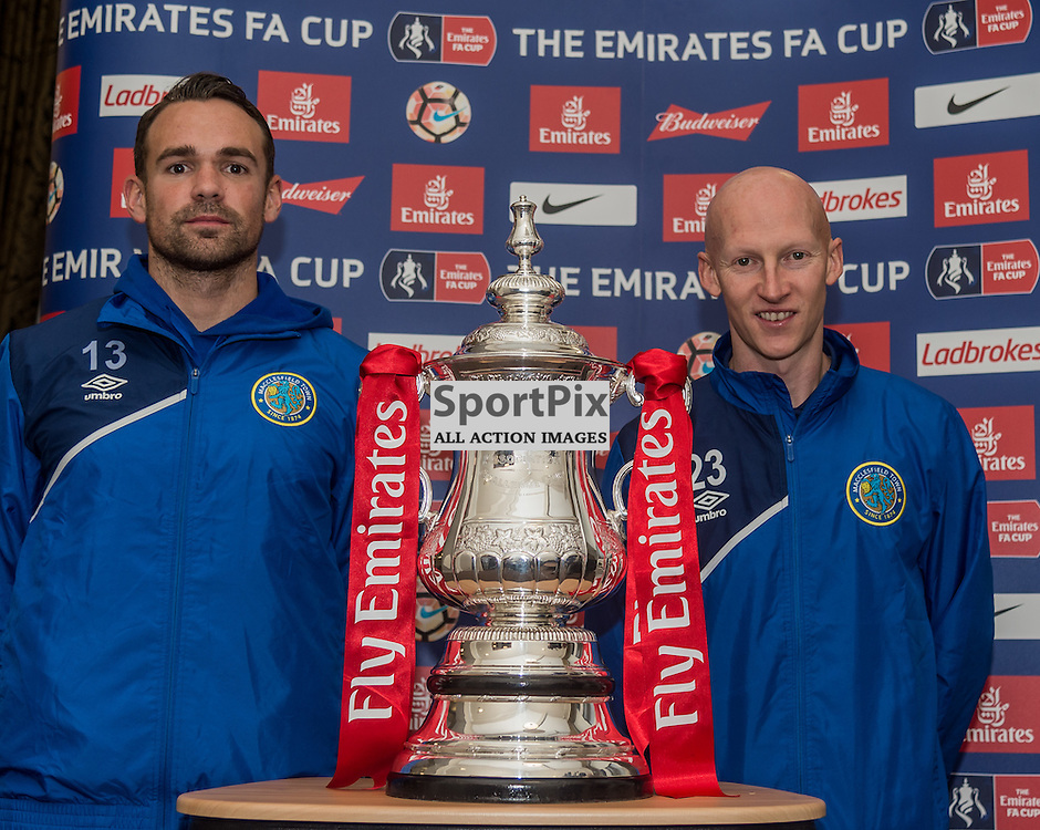 Macclesfield Town goalkeeper Craig Ross and midfielder Danny Whitaker with The Emirates FA Cup displayed at Macclesfield Town FC ahead of the club's 2nd Round FA Cup tie with Oxford United FC <br /> <br /> (c) John Baguley | SportPix.org.uk
