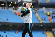 Manchester City goalkeeper Joe Hart (1) in warm up during the Barclays Premier League match between Manchester City and Manchester United at the Etihad Stadium, Manchester, England on 20 March 2016. Photo by Phil Duncan.
