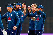 England ODI  celebrate the wicket of India ODI batsman Shikhar Dhawan from the bowling off England ODI all rounder David Willey  during the 3rd Royal London ODI match between England and India at Headingley Stadium, Headingley, United Kingdom on 17 July 2018. Picture by Simon Davies.