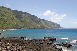 Hawaii: Molokai, scenic view of cliffs and ocean from Kalaupapa..Photo himolo120-72286.Photo copyright Lee Foster, www.fostertravel.com, lee@fostertravel.com, 510-549-2202