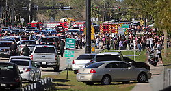 Students are brought across Coral Springs Drive from the campus of Stoneman Douglas High School in Parkland, FL, USA, after a shooting on Wednesday, February 14, 2018. Photo by Amy Beth Bennett/Sun Sentinel/TNS/ABACAPRESS.COM