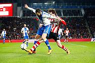 04-02-2016 VOETBAL:PSV-UTRECHT:BEKER:EINDHOVEN<br /> Nacer Barazite van FC Utrecht in duel met Davy Pröpper van PSV <br /> <br /> Foto: Geert van Erven