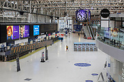 UNITED KINGDOM, London: 28 April 2020 <br /> A desolate Waterloo train station at 10:27am this morning as the wet weather and government guidelines to help prevent the spread of the coronavirus continue to keep people indoors. The weather is set to stay wet for the next few days according to the Met Office.