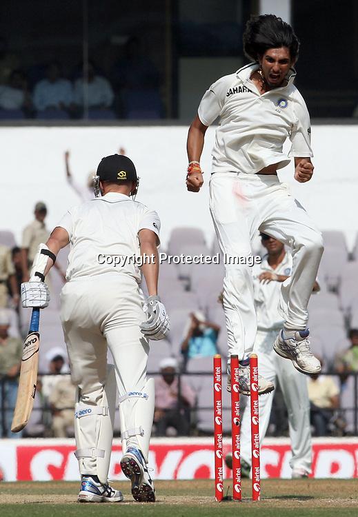 Indian bowler Ishant Shrama Celebrates Chris Martin wicket during the 3rd test match India vs New Zealand day-4 Played at Vidarbha Cricket Association Stadium, Jamtha, Nagpur, 23 November 2010 (5-day match)November 2010 (5-day match)