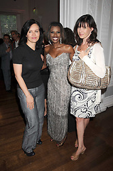 Left to right, CAROLINE FLINT MP, JUNE SARPONG and RONNIE ANCONA at the launch of Politics and The City - a new web site for women fusing politics with gossip, entertainment, news and fashion, held at the ICA, 12 Carlton House Terrace, London on 8th July 2008.<br />