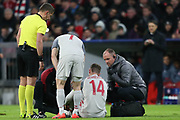 Liverpool midfielder Jordan Henderson (14) shortly before being substituted during the Champions League match between Bayern Munich and Liverpool at the Allianz Arena, Munich, Germany, on 13 March 2019.