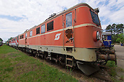 Strasshof, Austria.<br /> Triebwagentage (railcar days) at Das Heizhaus - Eisenbahnmuseum Strasshof, Lower Austria's newly designated competence center for railway museum activities.<br /> ÖBB 1110.023-7 electric locomotive (1956-1961, running until 2003.