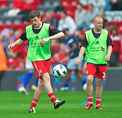 LIVERPOOL, ENGLAND - Saturday, April 23, 2011: Liverpool's Jack Robinson makes his full home debut for the Premiership match against Birmingham City at Anfield. (Photo by David Rawcliffe/Propaganda)