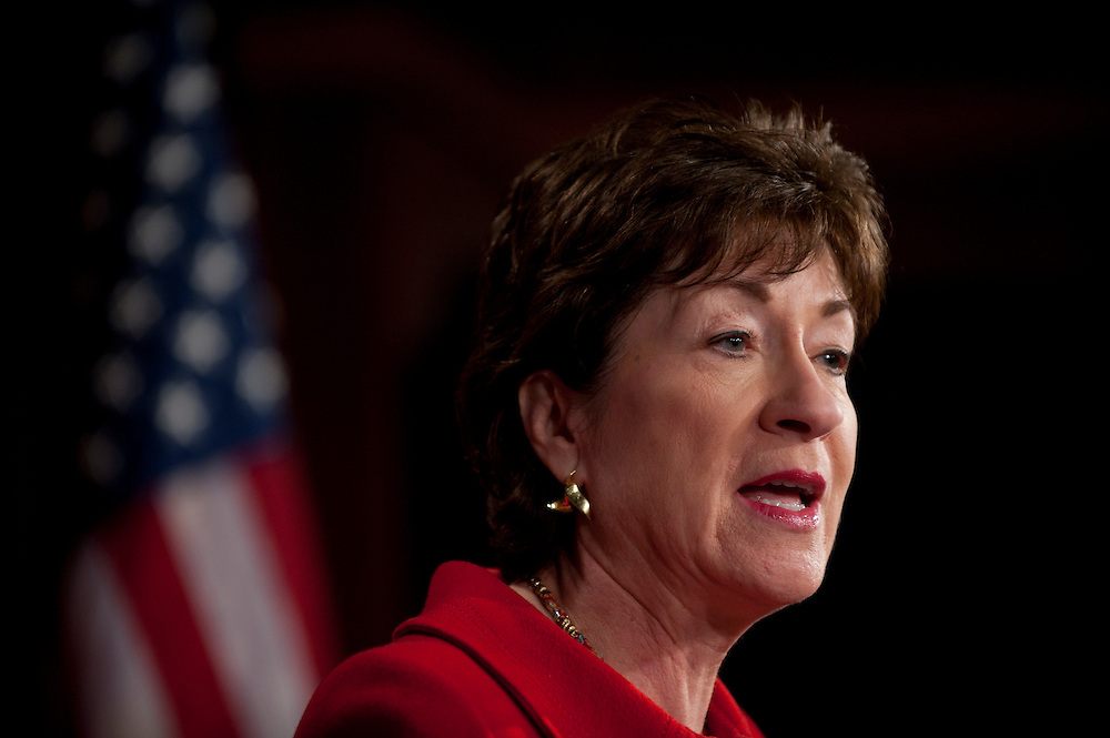 """Feb 1, 2011 - Washington, District of Columbia, U.S. - Senator SUSAN COLLINS, (R-MA) during a news conference to release a new Government Accountability Office report, """"Security Enhanced DHS Oversight and Assessment of Interagency Coordination is Needed for the Northern Border."""".(Credit Image: © Pete Marovich/ZUMA Press)"""